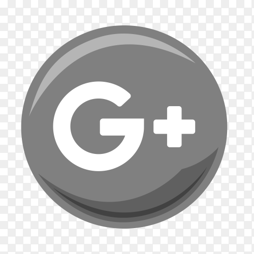Gray google plus icon on transparent PNG