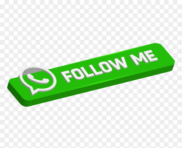Green Signboard Follow me with whatsappa logo on transparent PNG