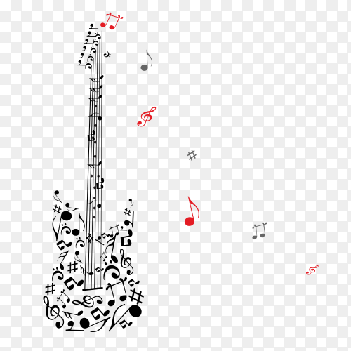 Guitar and music notes  on  transparent PNG