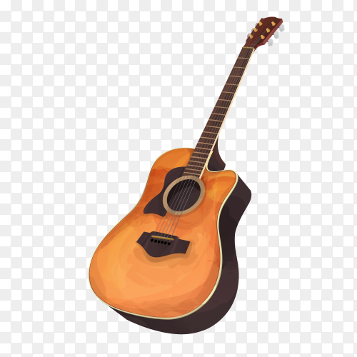 Guitar brown  theme birthday card illustration on transparent background PNG