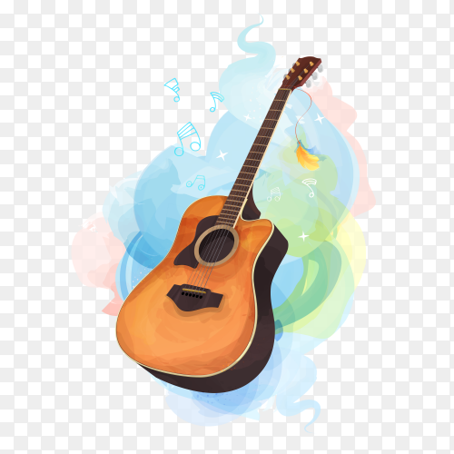 Guitar theme birthday card illustration on transparent background PNG