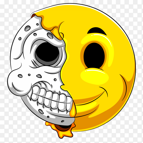 Half Skull emoticon with white background Clipart PNG