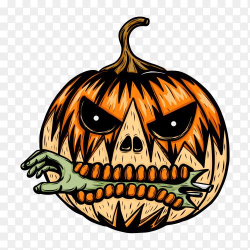 Halloween Pumpkin cartoon on transparent background PNG