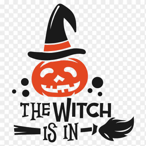 Halloween Pumpkin with witch hat Greeting card vector PNG