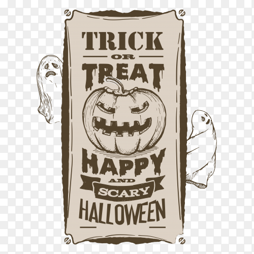 Halloween banner vintage poster retro vector PNG