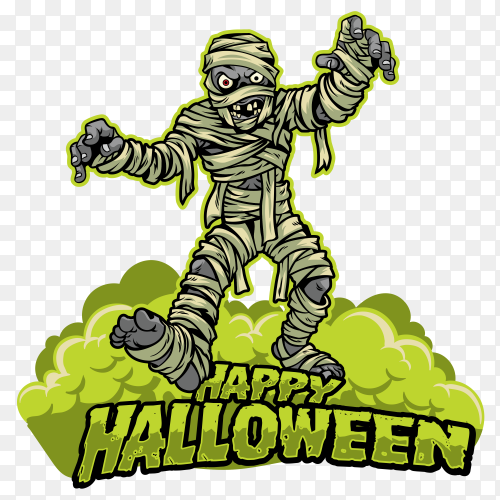 Halloween design mummy cartoon vector PNG