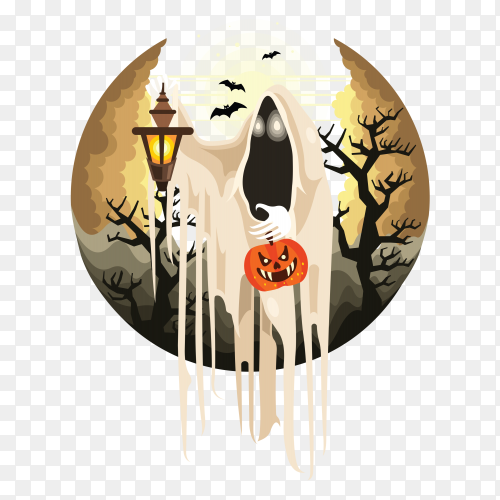 Halloween ghost with lantern character on transparent PNG