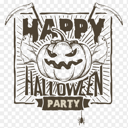 Halloween party banner with pumpkin ghosts scythe vector PNG
