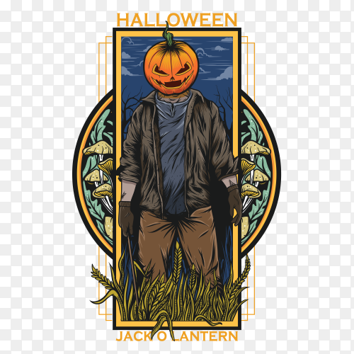 Halloween party pumpkin jack o'lantern vector PNG