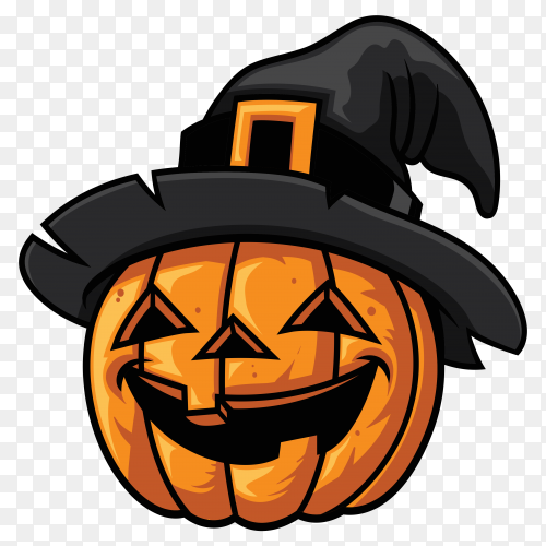 Halloween pumpkin with witches hat vector PNG