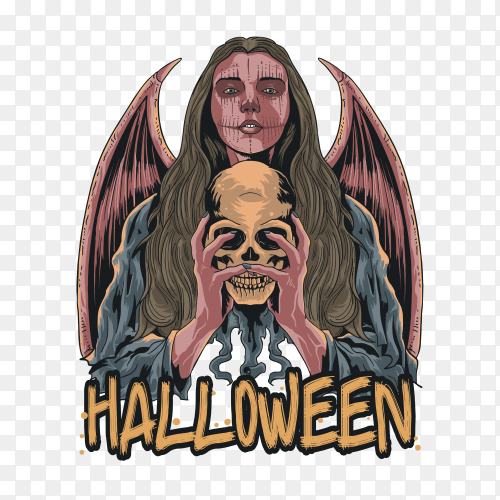 Halloween scary girl loco on transparent PNG