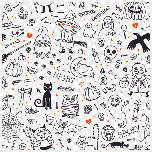 Halloween seamless pattern pumpkin ghosts cats skulls bats other symbols vector PNG