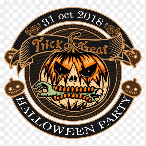 Halloween vintage logo on transparent PNG