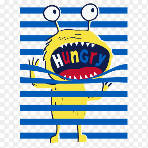 Hand drawn cute monster for t-shirt printing with transparent PNG