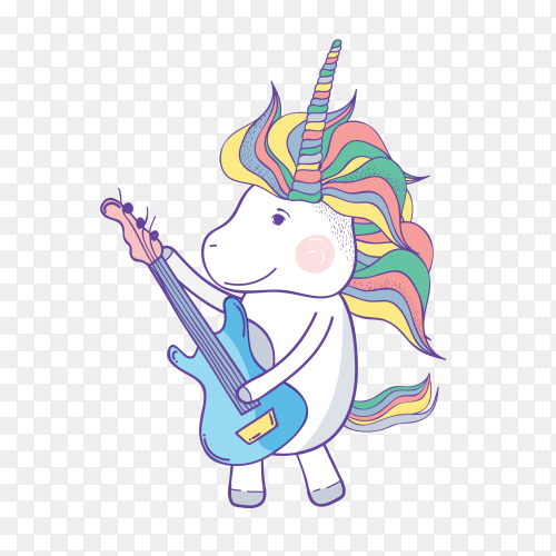 Hand drawn unicorn with electric guita vector PNG