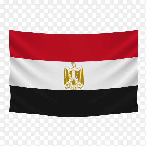Hanging Egyptian flag on transparent PNG