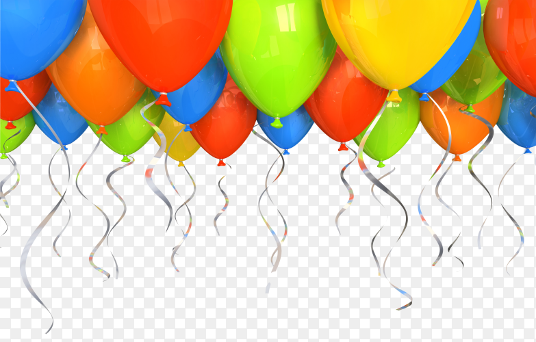 Happy birthday colourful balloons and ribbons vector PNG