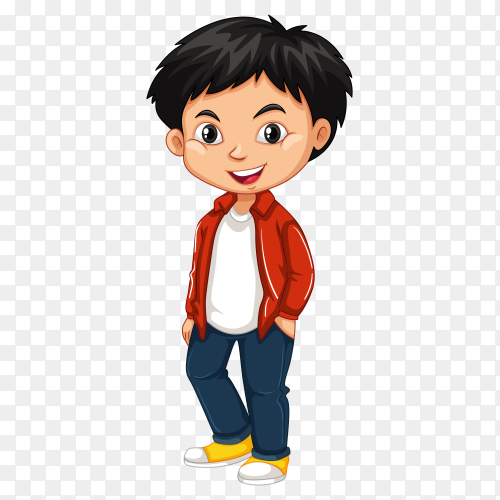 Happy boy cartoon on transparent background PNG