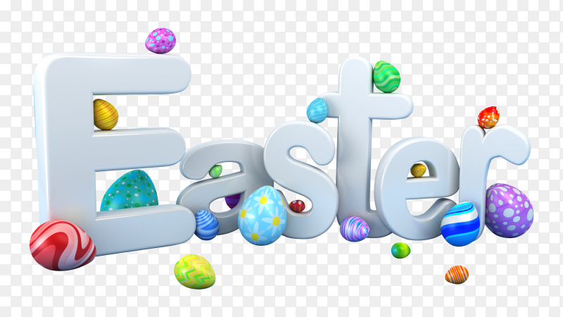 Happy Easter 3D illustration with colorful painted egg vector PNG