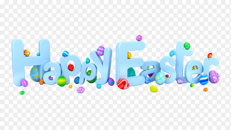 Happy Easter day in paper style with colorful eggs on transparent PNG