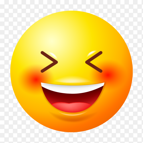Happy emoji vector on transparent background PNG