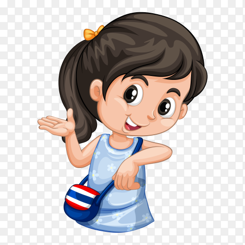 Happy girl presenting something Clipart PNG