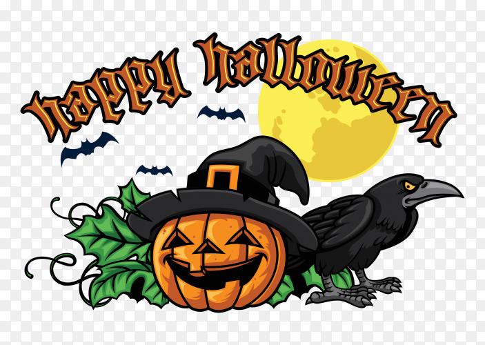 Happy halloween design with halloween pumpkin vector PNG