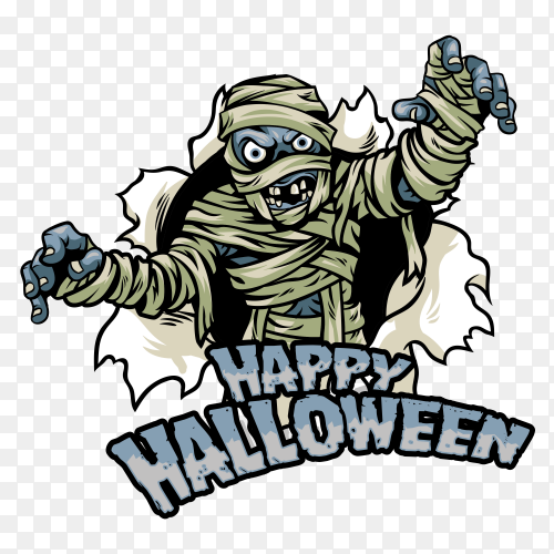 Happy halloween design with mummy Clipart PNG