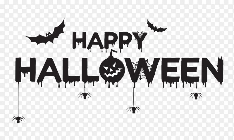 Happy halloween pumpkin fantasy night skull castle vampire text vector PNG