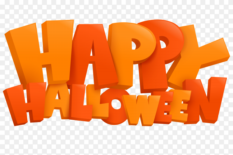Happy halloween text on transparent PNG