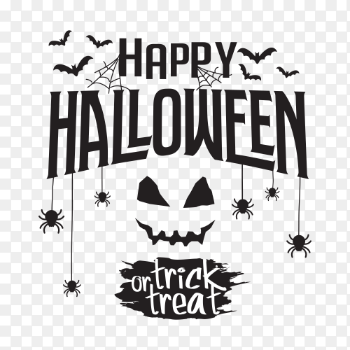 Happy halloween text with web bat spider vector PNG
