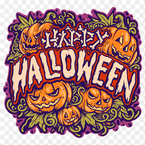 Happy helloween card on transparent PNG