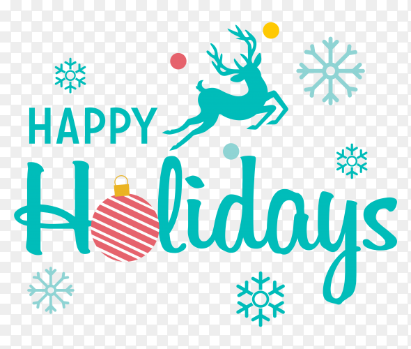 Happy holidays greeting card clipart PNG