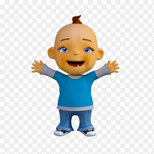 Happy kid raising his hands vector PNG