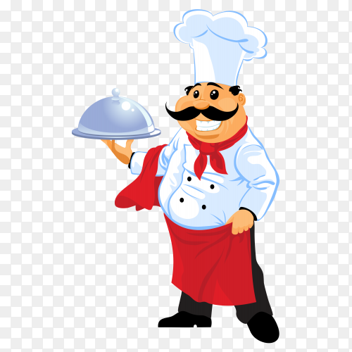 Happy meal carried by experd chef vector PNG