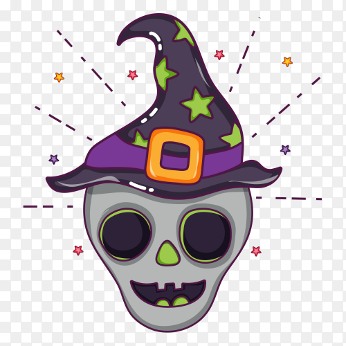 Happy skull  halloween cartoons on transparent background PNG