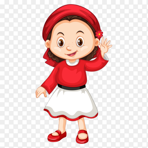 Happy smiling girl Premium vector PNG