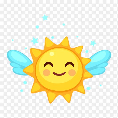 Happy sun emoji with Tears of Joy clip art PNG