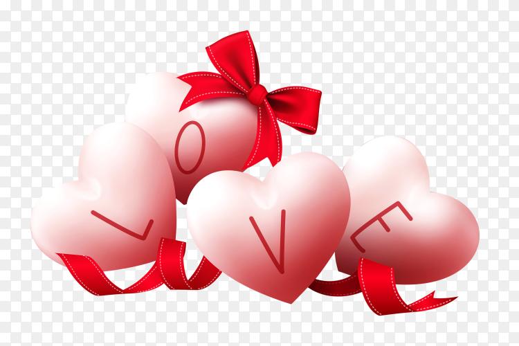 Heart shaped Love 3D illustration on transparent background PNG