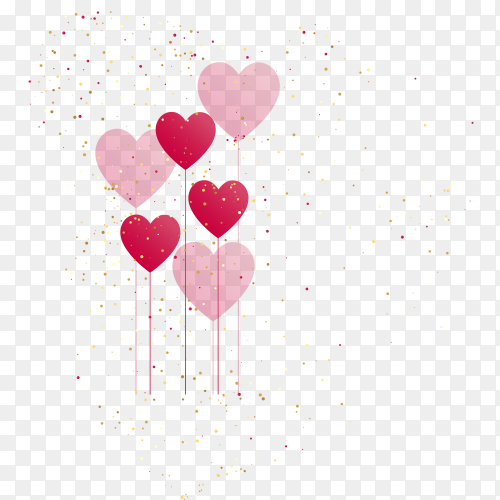 Hearts balloon with golden confetti vector PNG