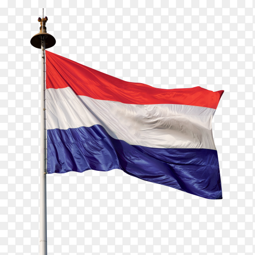 Holland flag waving on transparent background PNG