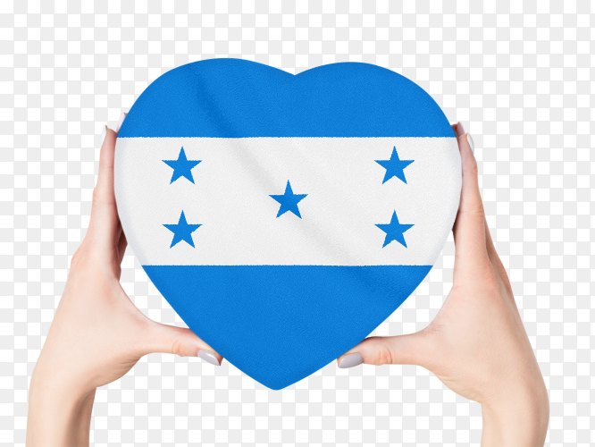 Honduras female holding heart shaped flag on transparent background PNG