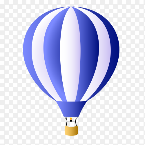 Hot air balloon blue on transparent PNG