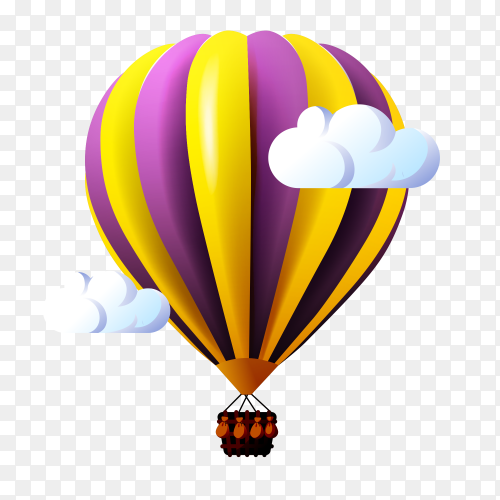 Hot air balloon clouds on transparent PNG