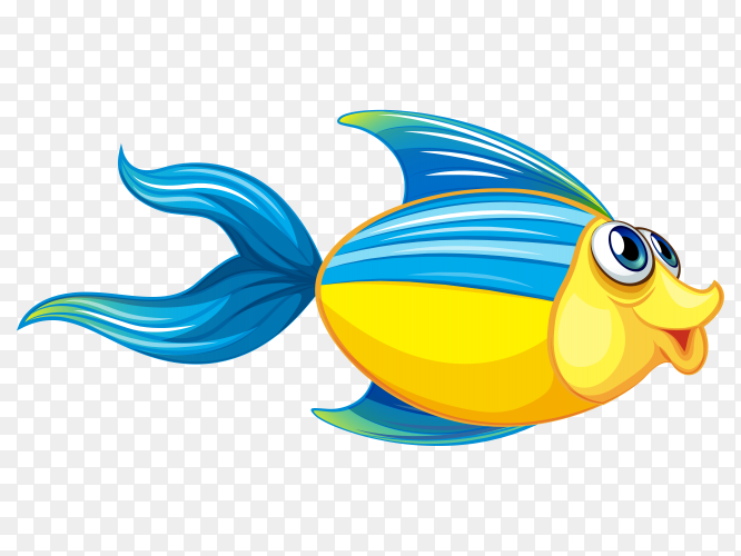 Illustration of a big blue fish with a stripe vector PNG