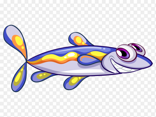 Illustration of an elongated blue fish vector PNG