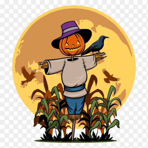Illustration spooky scarecrow halloween party Clipart PNG