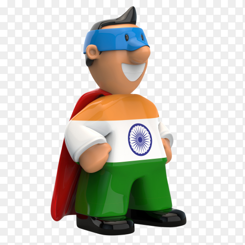 India flag shaped on super hero on transparent background PNG