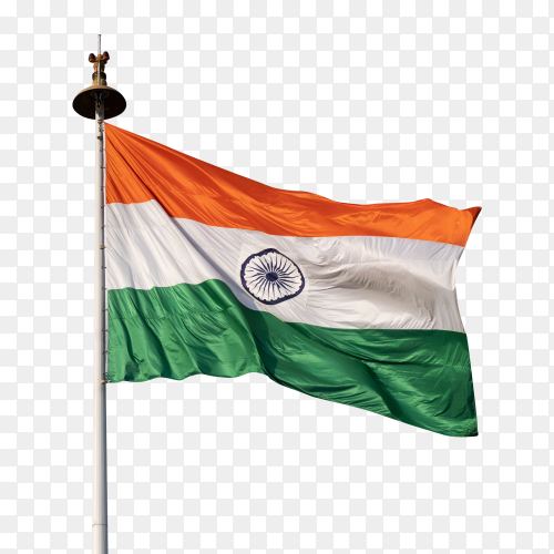 India flag waving on transparent background PNG