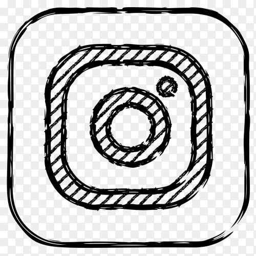 Instagram black and white logo on transparent background PNG